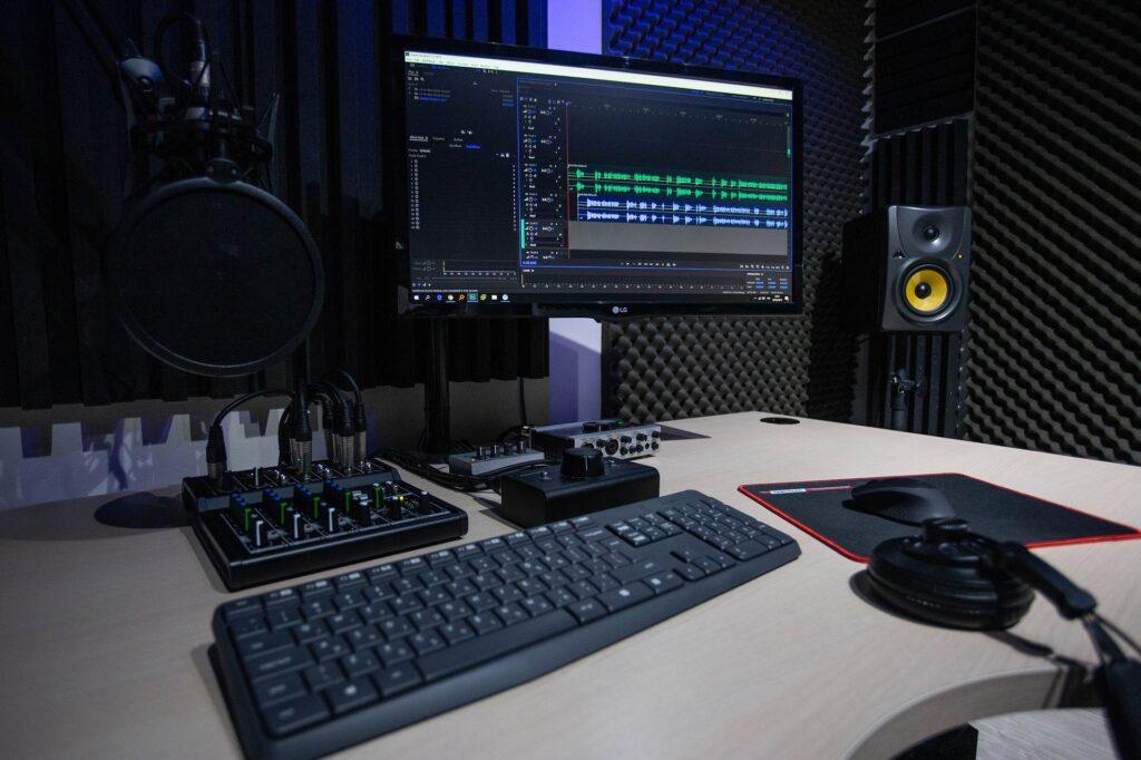 Sala de edição de áudio